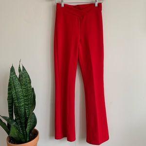 VTG Red Bell Bottom Pants with cross cross waist